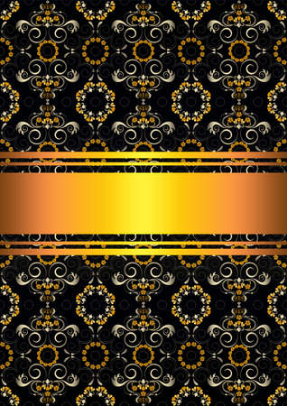 patterned: Greeting card with patterned black background with gold ribbons