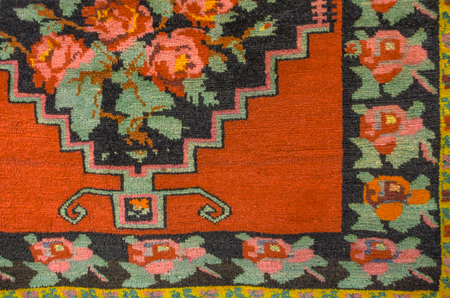 woolen: Woolen carpet with bright floral pattern