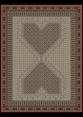 green carpet: Design carpet from ethnic ornament at a gray green center