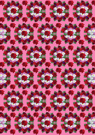 crimson: Crimson background with a bouquet of red roses, asters and violets