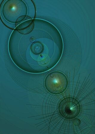 convex: Abstract green textured background with convex cones, transparent circles and lights Stock Photo