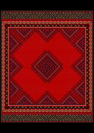 oriental rug: Luxurious vintage oriental rug with original pattern with red shades