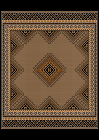 oriental rug: Luxurious vintage oriental rug with ethnic pattern with brown and yellow shades