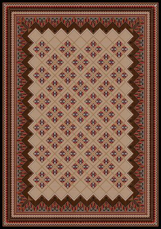 motley: Design frame with motley ornaments in brown and red shadesfor carpet