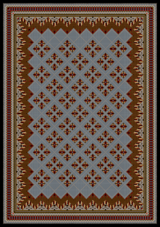 oriental rug: luxurious vintage oriental rug with original pattern in brown and blue shades