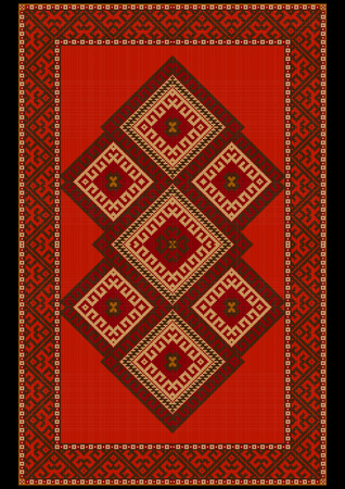 red rug: Vintage luxurious ethnic red rug with  red and brown shades