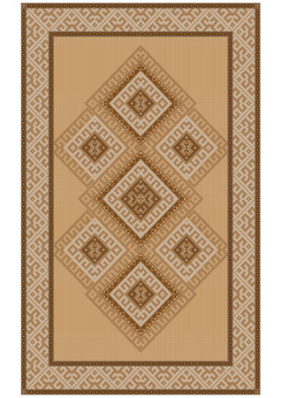 oriental rug: Delicate vintage luxurious ethnic rug with yellow and  brown shades