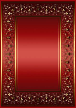 Roter Rahmen mit goldenem Blumenmuster und heraldische Lilien