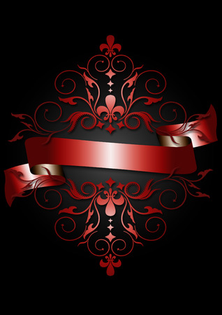 scrolling: Card with shiny red ribbon,red pattern,scrolling and heraldry on black background