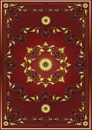gold textured background: Luxury red textured background with frame from gold ornamental pattern