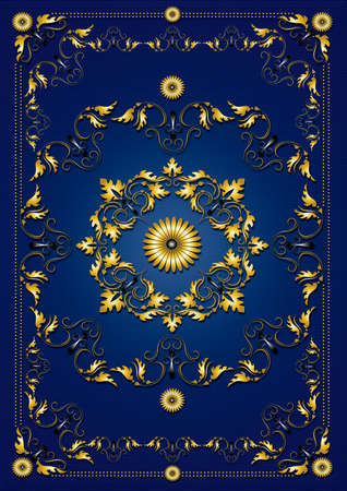gold textured background: Vintage blue textured background with frame from gold ornamental pattern