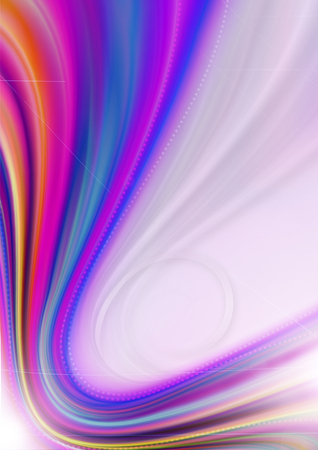 ray tracing: Rainbow curved rays, bands and beads on pink wavy background