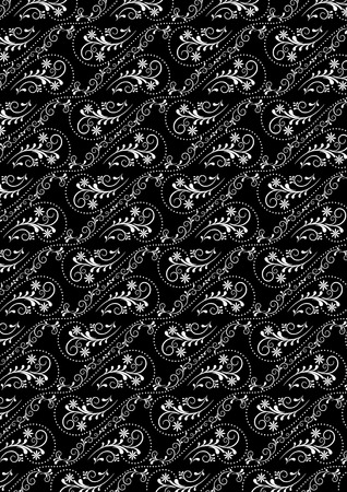 raster artistic: Openwork vintage seamless white pattern on a black background