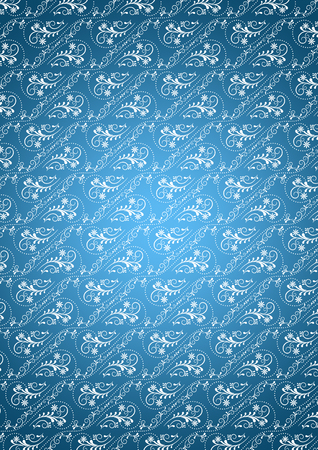 bluish: Bluish gradient background with white�seamless�vintage�ornament
