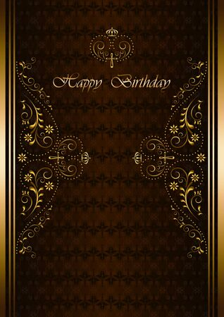 burgundy background: luxury greetings card with Happy Birthday on  burgundy background