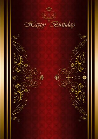 vinous: luxury greetings card with Happy Birthday on patterned vinous background Stock Photo