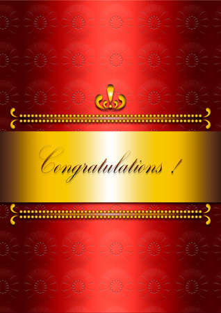 burgundy ribbon: Red satin greeting card with the words Congratulations!