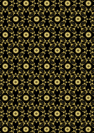 gold floral: Seamless gold floral pattern on black background Stock Photo