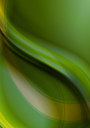 Abstract greenish yellow wavy background with yellow and green curve strips Stock Photo