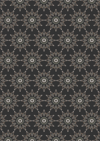 dark gray line: Seamless colored openwork oval floral pattern on dark gray background Stock Photo