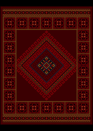 frame less: Luxurious vintage oriental carpet with ethnic ornament in maroon shades