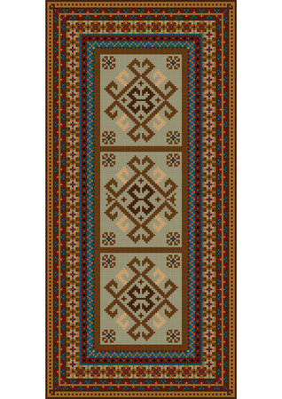 Luxury vintage motley carpet with ethnic ornaments and beige color on the center Illustration