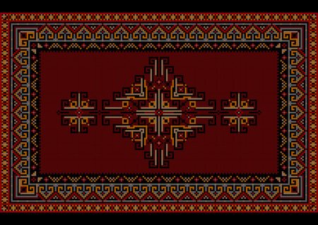 motley: Vintage motley luxury carpet with ethnic ornament on a maroon field