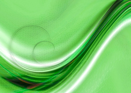 greenish: Textured mosaic cells greenish hues background with convex flowing green and white waves with spirals Stock Photo