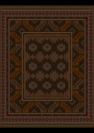 variegated: Vintage luxury carpet at brown shades and variegated pattern in the center Illustration