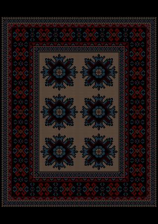 armenian: Luxury vintage carpet with ethnic ornament on  dark border and beige mid