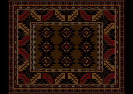 variegated: Variegated vintage carpet at maroon and brown shades with pattern in the center Illustration