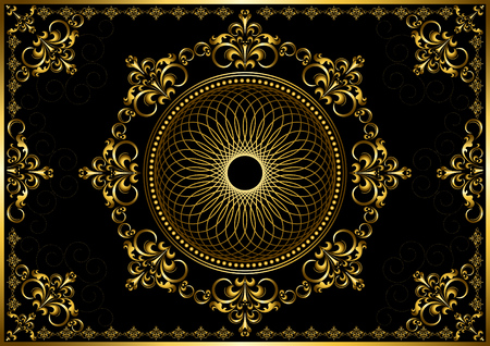 Vintage frame with gold luxury ornament on black background
