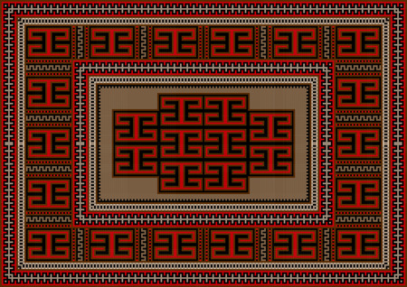 red rug: Vintage carpet with ethnic geometric ornament on beige center