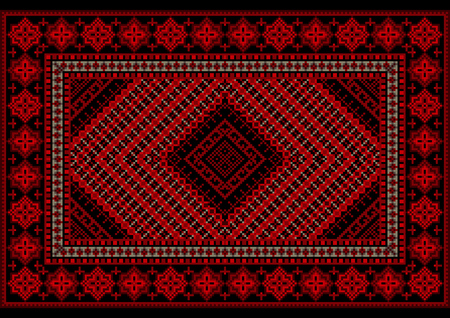 Luxurious vintage  rug in red shades with original pattern in the middle