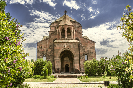 View of the facade and the main entrance to the Church of St. Hripsime in Echmiadzin Stock Photo