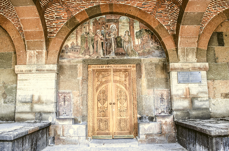 Fresco of the Birth of Christ above the entrance doors in the temple of the Martyr Gayane in Echmiadzin Stock Photo