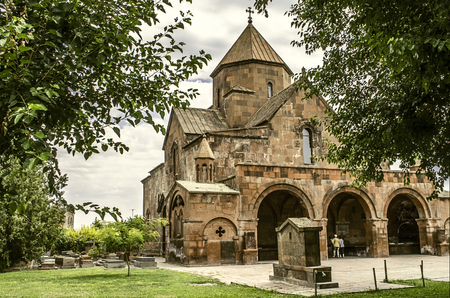 View of the Church from the side on a three-nave domed Basilica of St. Gayane in Echmiadzin Stock Photo