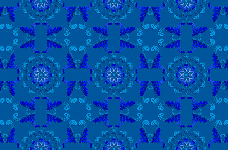 Blue background from vintage ultramarine with bluish ethnic satin ornaments Stock Photo