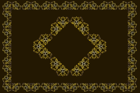 Luxurious vintage gold frame with an oriental pattern at the center on a brown background