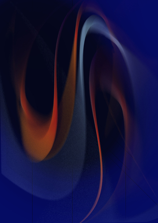 Abstract falling one after another blurred curved blue and orange waves on a dark blue background
