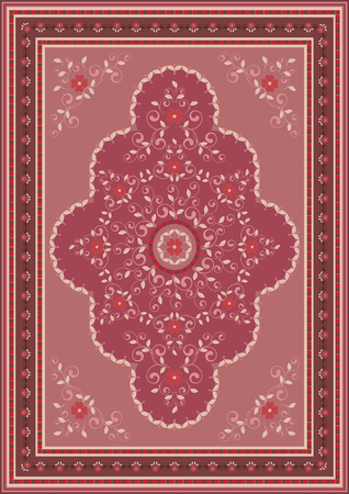 Luxury ethnic carpet with oriental floral ornament in pink,red and claret shades