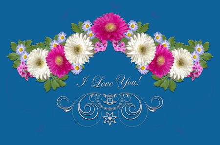 Postcard with crimson and white gerberas,small purple asters and white ornament with greeting I Love you on a bluish background