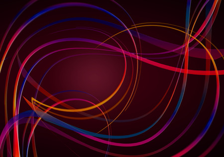 Black with a red backlighting background,covered with red-blue shades of wavy and swirling rainbow stripes 写真素材