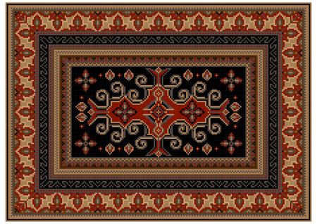 Luxurious motley carpet with ethnic ornaments and black field with patterns in the center