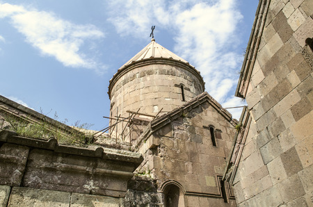 Repair of collapsed stone coverings at the Church of the Blessed Virgin of the monastery of Goshavank, near the city of Dilijan