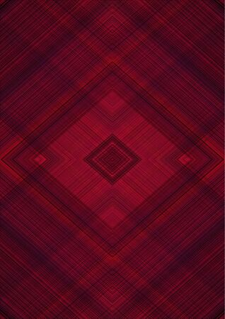 Effective, monochrome abstract background with rhombuses patterns derived from intersecting of red and black stripes and lines