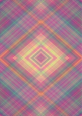 Gentle abstract background with rhomboid patterns obtained from the intersection of pink, green, yellow, orange, beige  stripes and lines Banque d'images