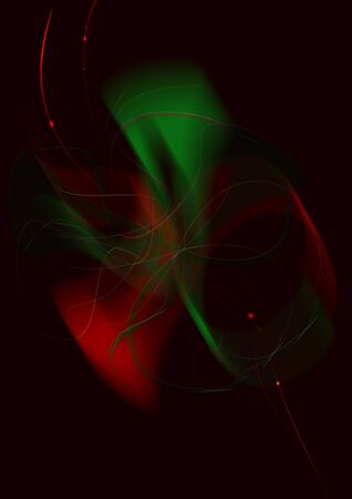 Abstract shape of red and green shades of a blurred bow covered with yellow thin stripes and shiny red lines with highlights on a black background
