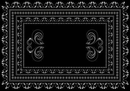 Vintage white frame with borders from a pattern with curved stripes and leaves and a borders of stars in a double frame on a black background