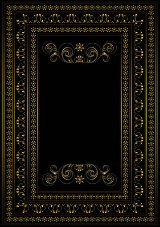 Gold frame with borders from a pattern with curved stripes and leaves and a borders of stars in a double frame on a black background Banque d'images - 138459710